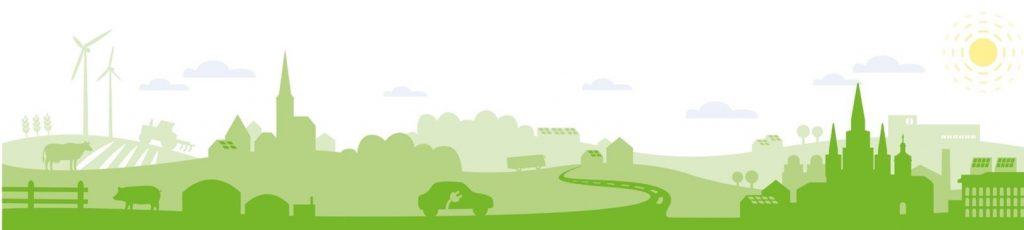 stilisierte Landschaft bestehend aus mehreren hintereinander angeordneten Ebenen in verschiedenen Grüntönen. In der Landschaft sind städtische und ländliche Strukturen sowie Fahrzeuge, Tiere, Traktoren und eine Biogasanlage zu erkennen. Am Himmel sind Wolken und die Sonne.