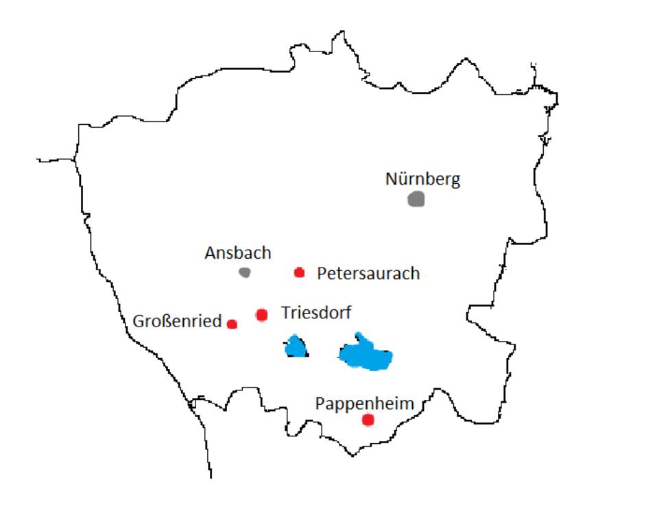Unser Bild zeigt eine Übersichtskarte mit den geografischen Standorten der Blühstreifen